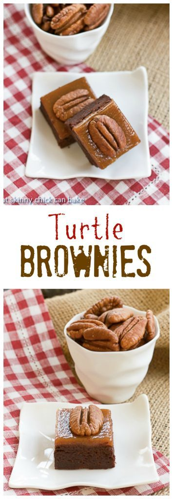 Turtle Brownies | A rich fudgy brownie topped with gooey caramel and toasted pecans