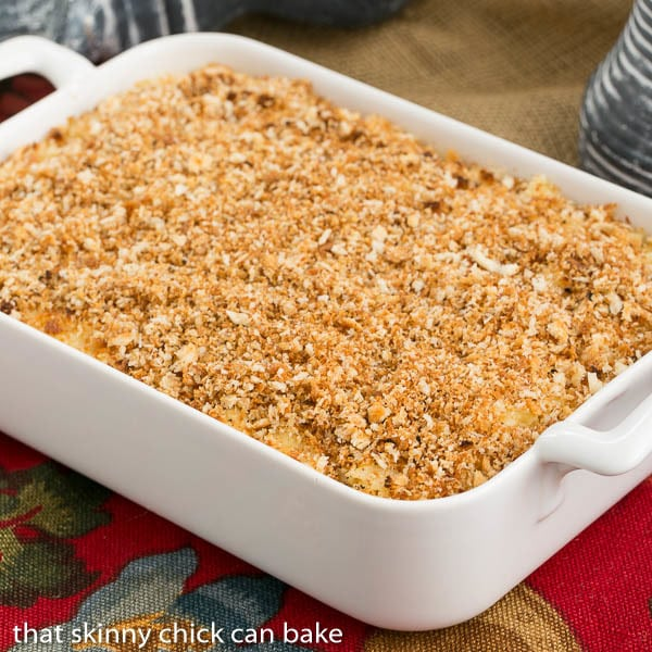 Classic Macaroni and Cheese   A delicious blend of cheeses and pasta with a buttery crumb topping