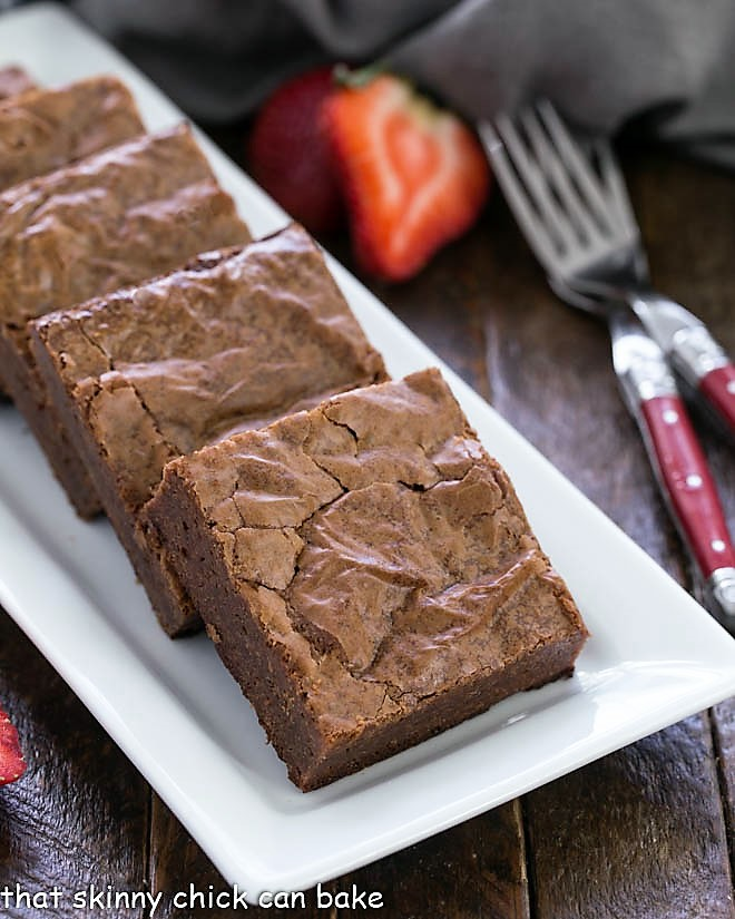 Fudgy Brownies from Scratch on a white ceramic tray