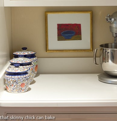 The baking area with canisters and mixer