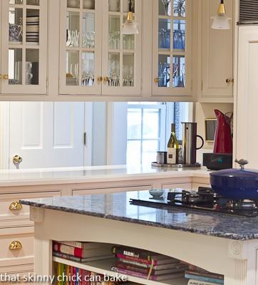Blue Bahia granite island and glass paned cabinets