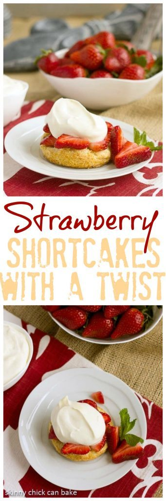 Strawberry Shortcakes with White Chocolate Mousse pinterest collage with photos and text