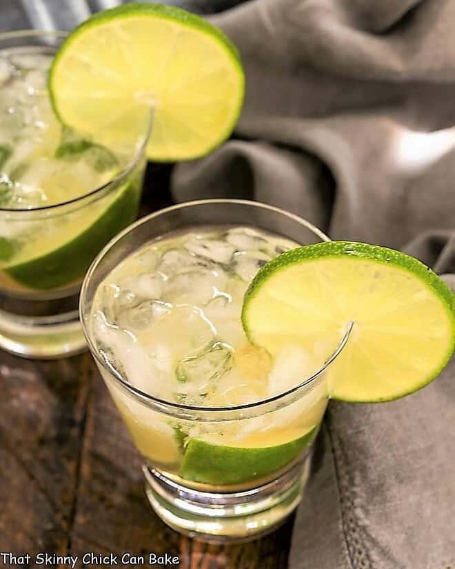 Two Brazilian Caipirinha Cocktail in highball glasses