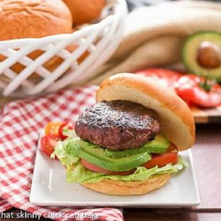 California Burgers on a white plate