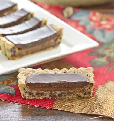 Chocolate Chip Cookie Tart with Caramel and Chocolate Glaze