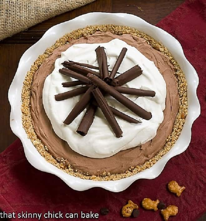 Overhead view of French Silk Pie with Pretzel Crust