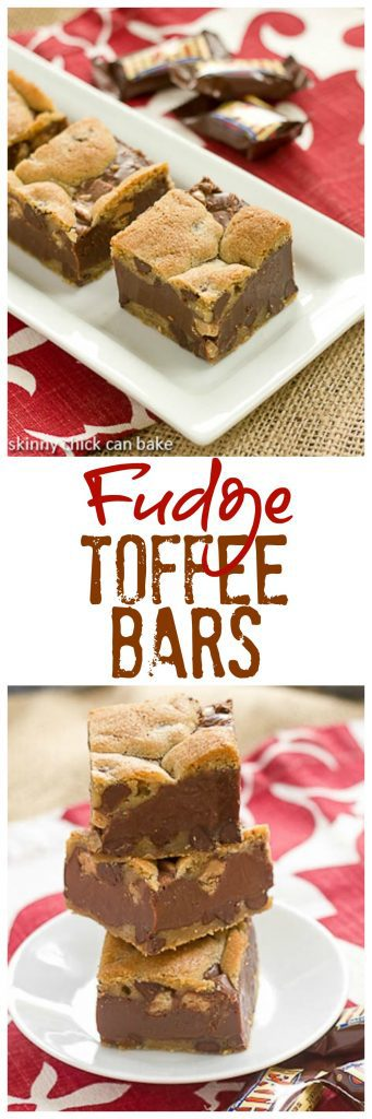 Fudge and Toffee Filled Chocolate Chip Bars | 3 amazing favorites in one cookie bar! #toffee #fudge #chocolatechipbars