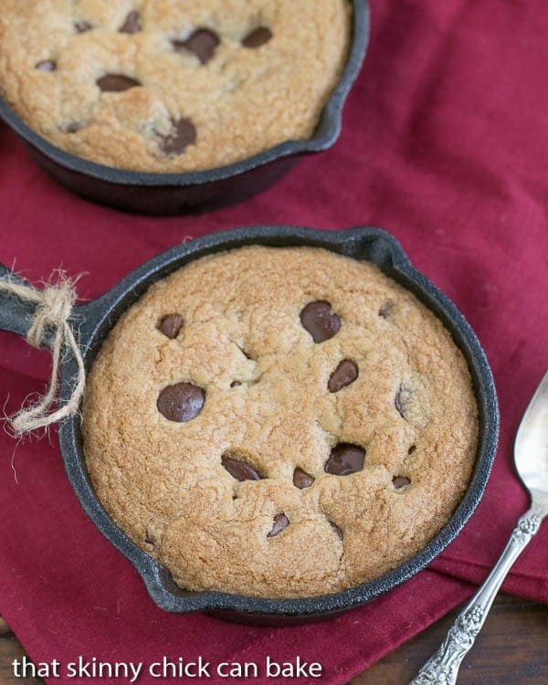 Skillet Chocolate Chip Cookie   A gooey, chewy cookie baked in a skillet!