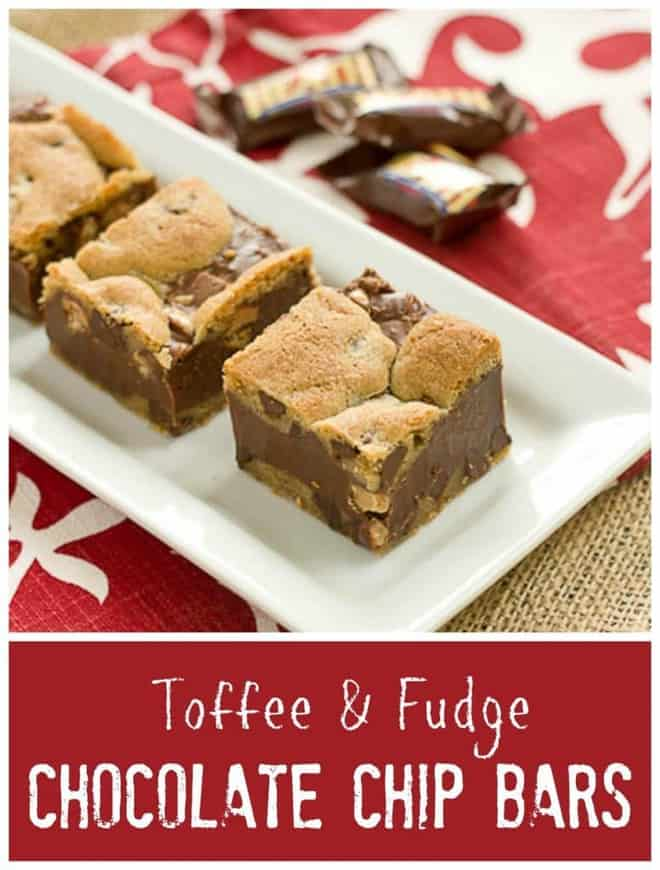 Toffee and Fudge Chocolate Chip Bars