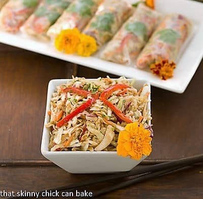 Asian Cole Slaw Spring Rolls filling in a square bowl