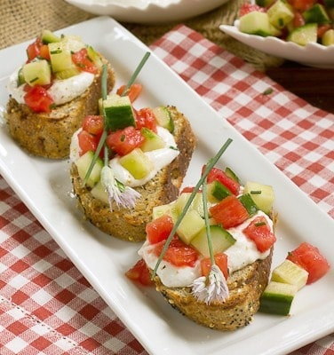 Dieter's Tartine | Simple toasts topped with fromage blanc and fresh vegetables