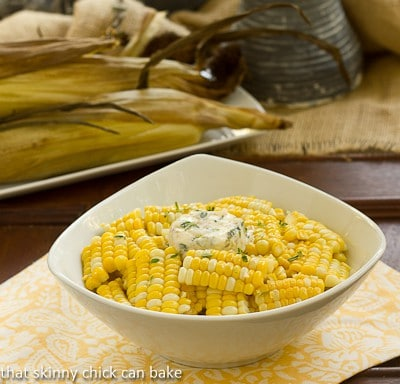 Boulevard Raspail Corn on the Cob in a white serving bowl
