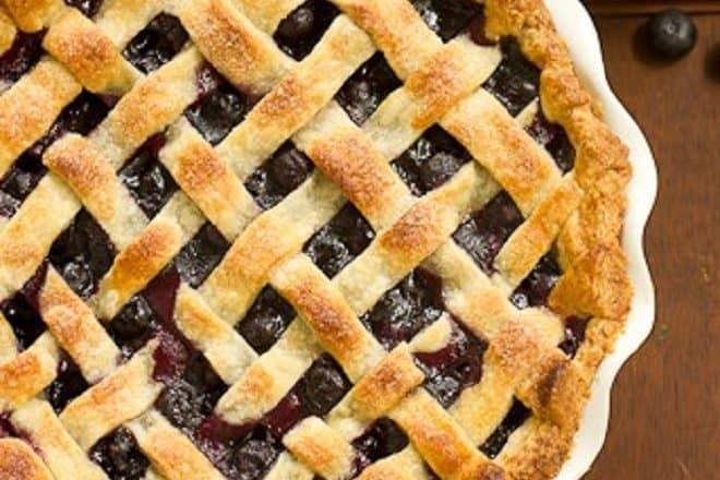 Overhead view of a Lattice Topped Blueberry Pie