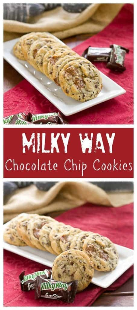 ... Kicked up chocolate chip cookies with the addition of Milky Way chunks