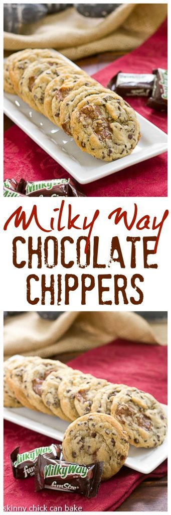 Milky Way Chocolate Chip Cookies | Kicked up chocolate chip cookies with the addition of Milky Way chunks