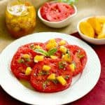 Tomato Salad with Peach and Basil Vinaigrette