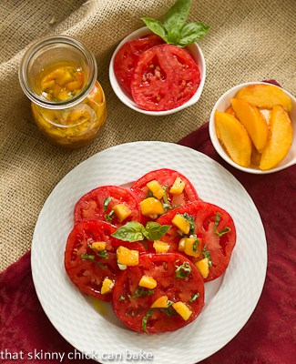 Overhead view of Tomato Salad with Peach and Basil Vinaigrette