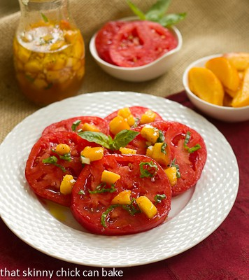 ... Tomato Salad with Peach and Basil Vinaigrette will thrill your taste