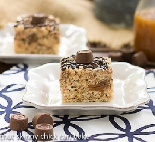 Caramel Rolo Rice Krispie Treats on small white plates