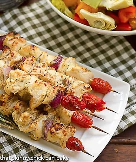 Feta Chicken Kabobs from above with a Greek salad