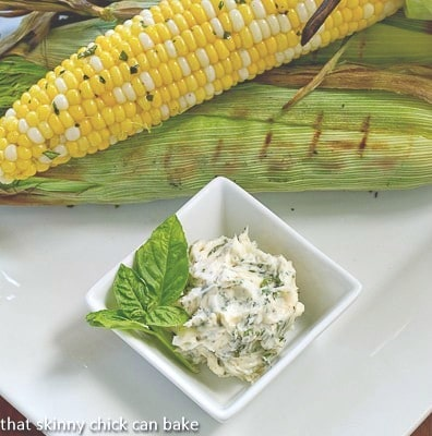 Grilled Corn on the Cob with Basil Butter from above