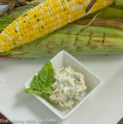 Grilled Corn on the Cob with Basil Butter | A wonderful summer side dish