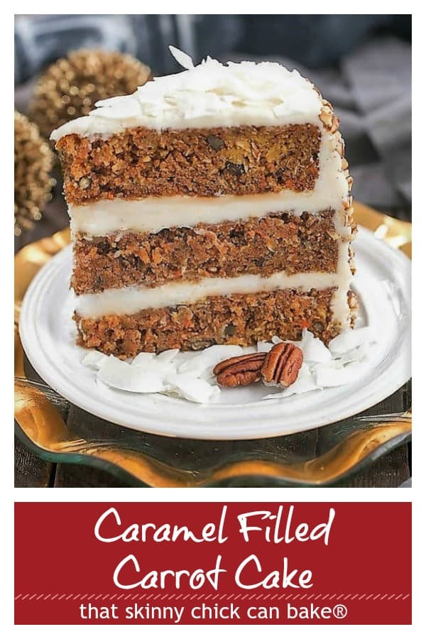 caramel filled carrot cake photo and text pinterest collage