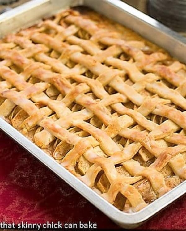 Cinnamon Apple Squares in a jelly roll pan