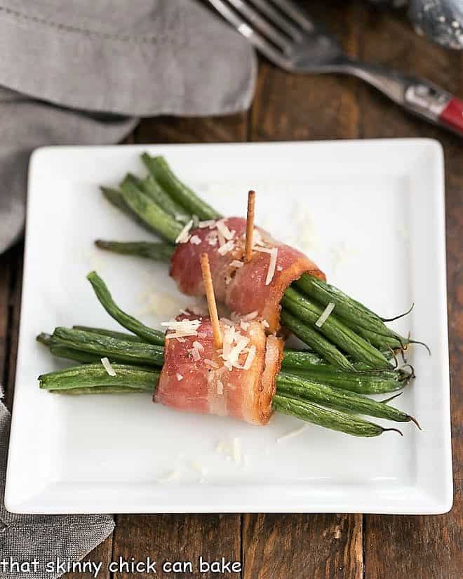 Green Bean and Bacon Bundles on a square plate