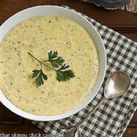 Easy Easy Parmesan Polenta in a white bowl