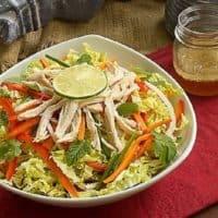 Vietnamese Chicken Salad in a white serving bowl