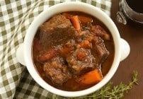Slow Cooked Beef Stew with Red Wine, Carrots and Tomatoes #SundaySupper