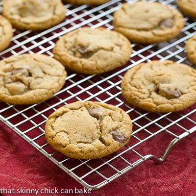 Biscoff Toffee Cookies on a cooling rack