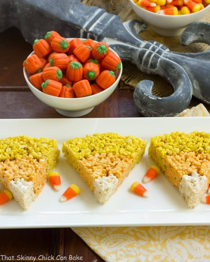 Rice Krispie Candy Corn | The classic cereal bars with a Halloween twist!