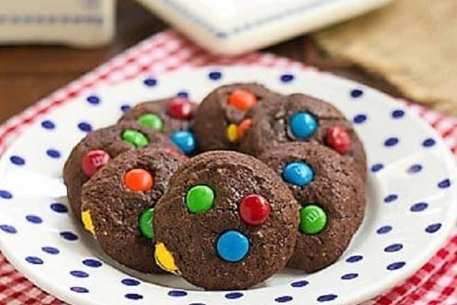 M & M Brownie Cookies - rich, chocolaty brownie cookies speckled with M & M candies