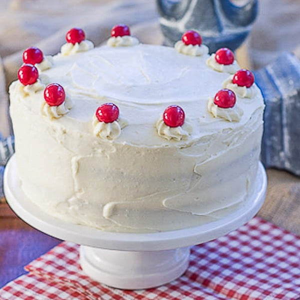 Red Velvet Cake with White Chocolate Cream Cheese Frosting   Triple layered decadence!