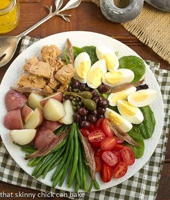 Salade Niçoise overhead shot on a white plate