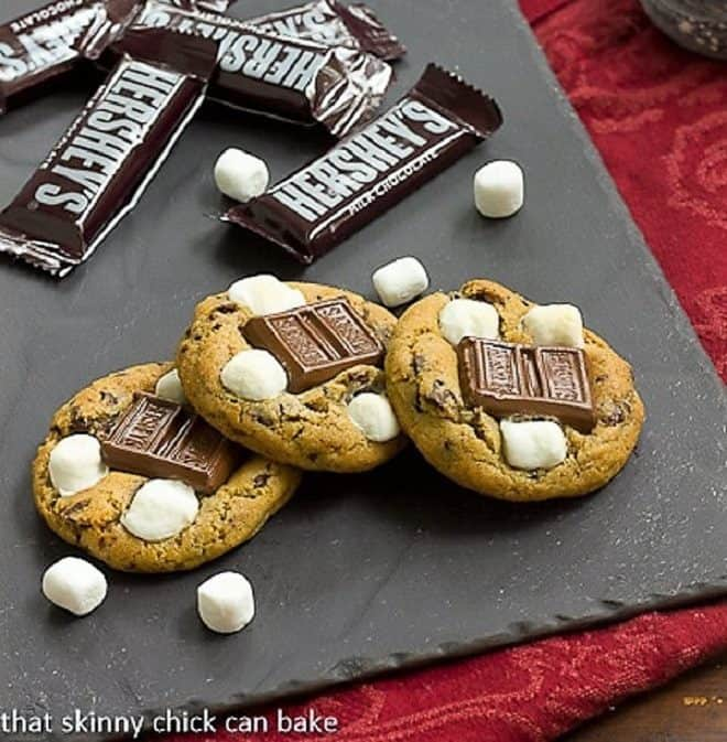 S'mookies AKA S'mores cookies on a piece of slate