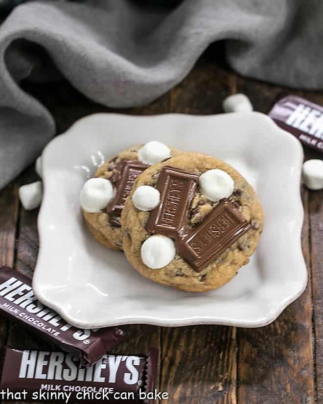 S'mookies or Gooey S'mores Cookies on a square white plate
