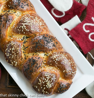 Perfect Braided Challah from Baking with Julia on a white ceramic tray