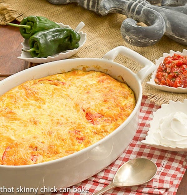 Chili Relleno Casserole | Layers of gooey cheese and peppers make for an irresistible dish!