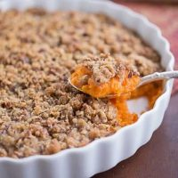 Praline Topped Sweet Potato Casserole - Perfect Thanksgiving side dish--even sweet potato nay sayers will love it!