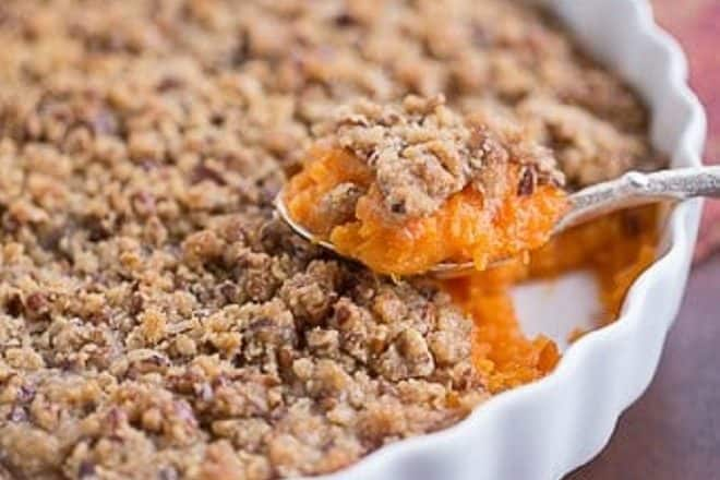 Praline Topped Sweet Potato Casserole in a baking dish