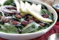 Spinach Salad with Pears, Cranberries and Candied Pecans #ThanksgivingPotluck