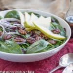 Spinach Salad with Pears, Cranberries and Candied Pecans #ThanksgivingPotluck #Giveaway