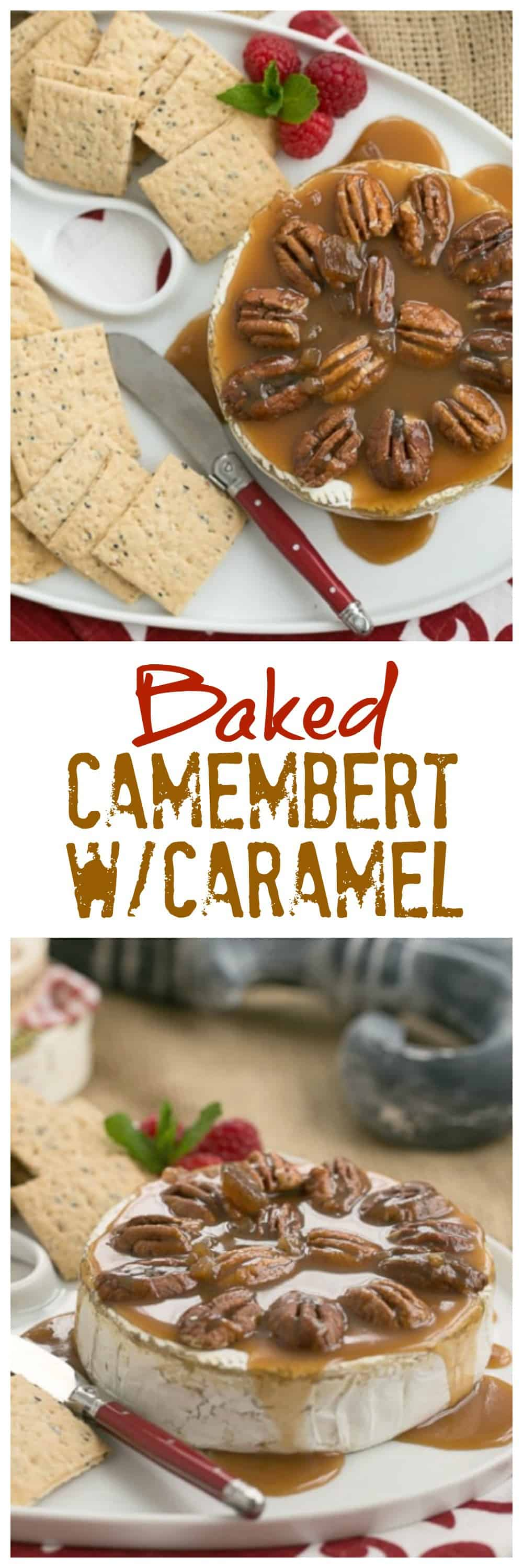 Baked Camembert with Caramel and Pecans is the perfect weapon in your arsenal of easy appetizer recipes since it's only 3 ingredients and definitely a showstopper! #appetizer #cheese #bakedcheese