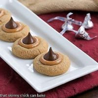 Caramel Biscoff Blossoms Cookies on a white ceramic tray