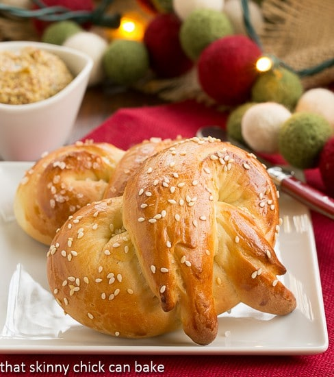 Homemade Challah Pretzels on a small white plate