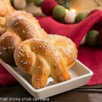 Challah Pretzels on a white rimmed tray