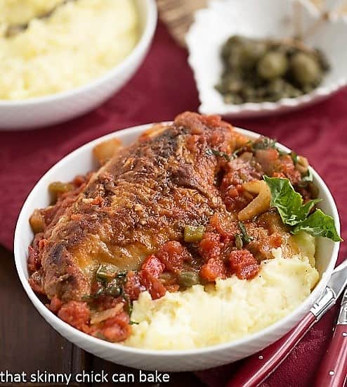 Easy Chicken Cacciatore in a bowl with mashed potatoes